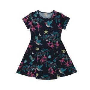 "Kleid Kurzarm Walkiddy ""Hummingbirds "" Dress 95 %Baumwolle 5 % Elasthan - Walkiddy"