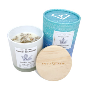 Kerze mit Bergkristall und Salbei (Energy Cleansing) - Yoga Hero