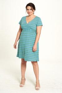 Jersey Kleid aus Bio-Baumwolle mit Streifen in Türkis und Rot - TRANQUILLO