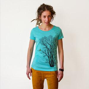 T-Shirt Erle mit Elster türkis - Cmig