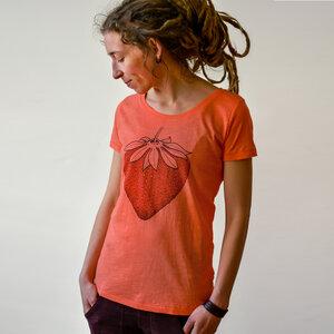 Erdbeer T-Shirt Damen Sun Coral - Cmig