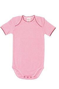 Baby Body Kurzarm rosa/geringelt Bio Baumwolle - People Wear Organic