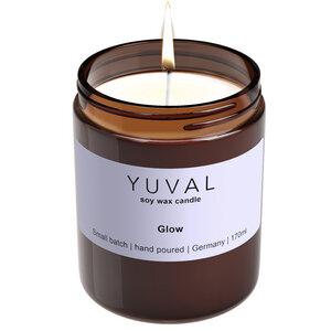 YUVAL Vegane Duftkerze im Glas mit frischem Lorbeeren und Lavendel Duft (Glow) - YUVAL