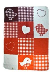 Baby Decke Birdy rot 75*100 Bio Baumwolle - Richter Textilien