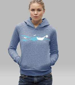 Hoodie Women Mid Heather Blue 'Ahoi' - SILBERFISCHER