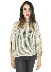 Durchbrochener gestrickter Pullover LUZ PONCHO Bio-Baumwolle / Leinen UNDYED - MAGAN