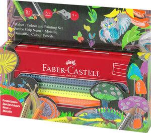 Jumbo Grip Malset Neon & Metallic im Metalletui, 11-teilig - Faber-Castell