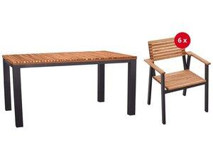 Gartenmöbel-Set 'Sassa' 7-teilig, 6 Sessel, 1 Tisch 150 x 90 cm - memo