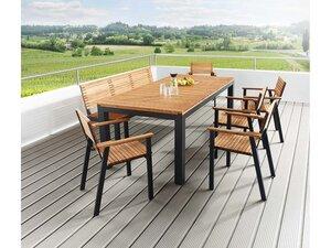 Gartenmöbel-Set 'Sassa' 7-teilig, 5 Sessel, 1 Bank, 1 Tisch 200 x 100 cm - memo