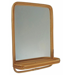 Rattan Spiegel mit Ablage, 60 x 45 cm - Puhlmann