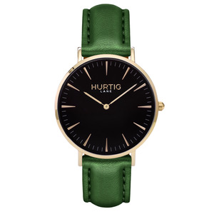 Mykonos Veganes Leder Uhr Gold/Schwarz - Hurtig Lane