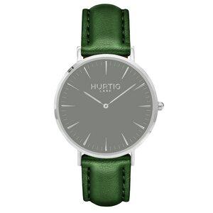 Mykonos Veganes Leder Uhr Silber/Grau - Hurtig Lane