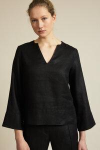 Bluse mit V-Ausschnitt aus Bio-Leinen - LANIUS