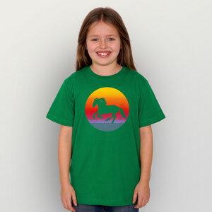 """""""Sunsethorse"""" Unisex Kinder-T-Shirt - HANDGEDRUCKT"""