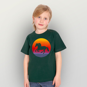 """Sunsethorse"" Unisex Kinder-T-Shirt - HANDGEDRUCKT"