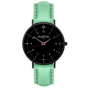 Moderna Veganes Leder Uhr Schwarz - Hurtig Lane