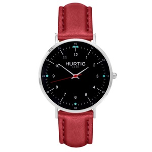 Moderna Veganes Leder Uhr Silber/Schwarz - Hurtig Lane