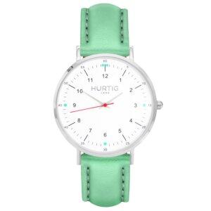 Moderna Veganes Leder Uhr Silber/Weiß - Hurtig Lane