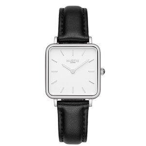 Neliö Quadratische Veganes Leder Uhr Silber/Weiß - Hurtig Lane