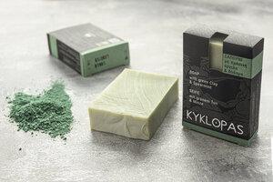 Grüner Ton und Minze Naturseife - handgefertigt und auf Olivenöl-Basis - 120g - Kyklopas