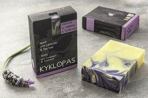 Lavendel und Teebaum Naturseife - handgefertigt und auf Olivenöl-Basis - 120g - Kyklopas