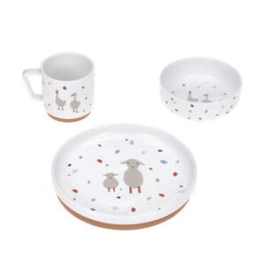 LÄSSIG Kindergeschirr Set Porzellan - Dish Set, Tiny Farmer Gans & Schaf - Lässig