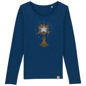 Longsleeve W - Pachamama - Siebdruck - black heather blue - Sacred Designs