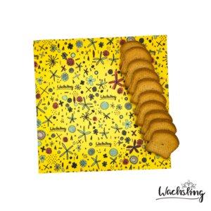 2er Set Handgemachte Bienenwachstücher groß Blumenwiese Gelb - Wachsling