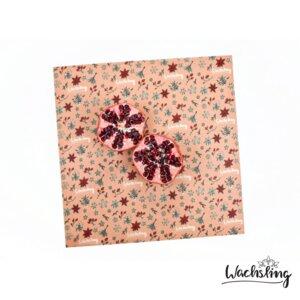 2er Set Handgemachte Bienenwachstücher groß Winterling Rosa - Wachsling