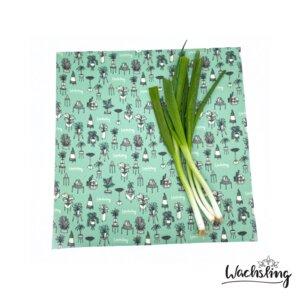 2er Set Handgemachte Bienenwachstücher groß Zimmeroase Mint Türkis - Wachsling