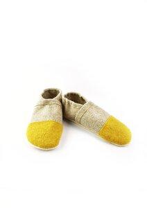 Hausschuhe, Puschen aus Wollfilz mit pflanzlich gegerbter Ledersohle - Süßstoff