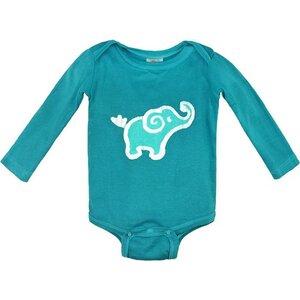Baby Body - Elefant - Bio Baumwolle - Minzgrün - Langarm - Global Mamas