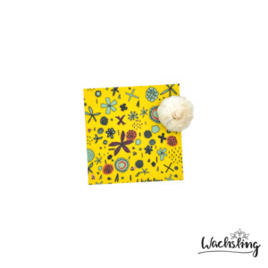 2er Set Handgemachte Bienenwachstücher klein Blumenwiese Gelb - Wachsling
