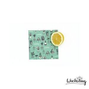 2er Set Handgemachte Bienenwachstücher klein Zimmeroase Mint Türkis - Wachsling