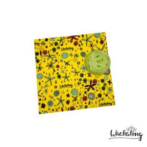 2er Set Handgemachte Bienenwachstücher mittel Blumenwiese Gelb - Wachsling