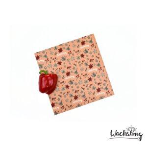 2er Set Handgemachte Bienenwachstücher mittel Winterling Rosa - Wachsling