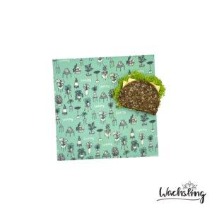 2er Set Handgemachte Bienenwachstücher mittel Zimmeroase Mint Türkis - Wachsling
