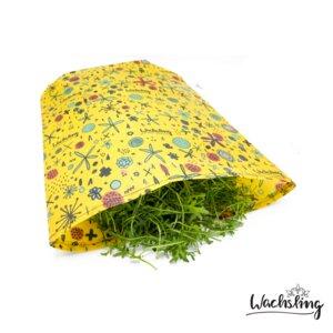 Bienenwachstuchbeutel groß Blumenwiese Gelb Wachsling - Wachsling