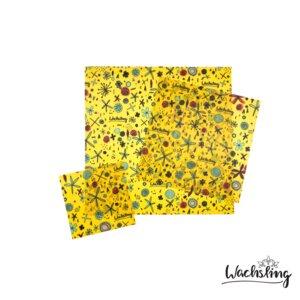 Handgemachte Bienenwachstücher Kombiset (S/M/L) Blumenwiese Gelb - Wachsling