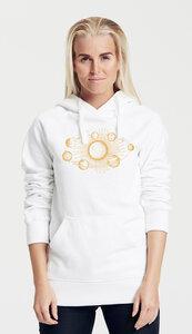 Bio-Damen-Kapuzensweater Sonnensystem - Peaces.bio - Neutral® - handbedruckt
