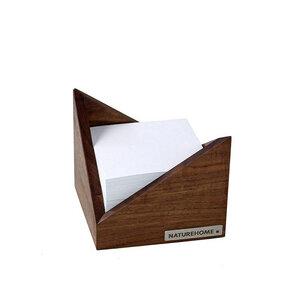 Zettelkasten Zettelbox 11,5 x 11,5 cm Nussbaum natur geölt - NATUREHOME