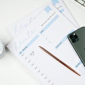Tagesplaner Block in DIN A4 für das Home Office, den Schreibtisch im Büro oder home schooling - heaven+paper