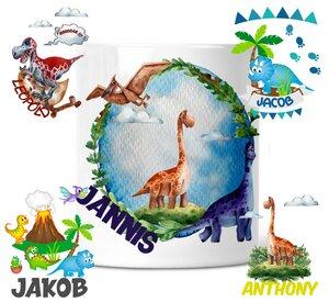 Spardose mit Dinosaurier Motive für Kinder mit Namen personalisiert - wolga-kreativ