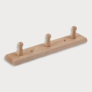 Garderobenleiste 3 Knöpfe aus Holz 26cm - Mitienda Shop