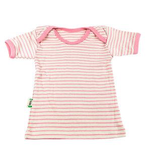Lotties Baby-Shirt kurzarm gestreift Bio Baumwolle rosa oder blau 50/56-74/80 - Lotties