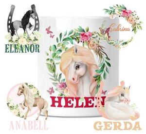 Spardose mit Pferde Motive für Kinder mit Namen personalisiert - wolga-kreativ