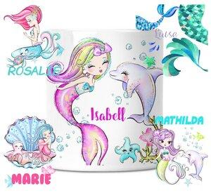 Spardose mit Meerjungfrau Motive für Kinder mit Namen personalisiert - wolga-kreativ