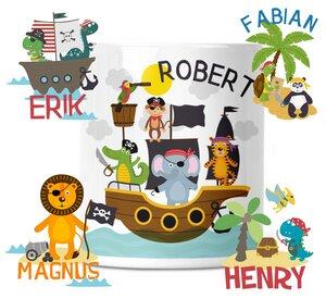 Spardose mit Pirat Motive für Kinder mit Namen personalisiert - wolga-kreativ