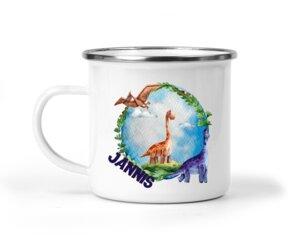 Emaille-Becher Dinosaurier Motive, personalisiert - wolga-kreativ