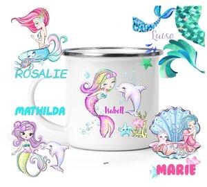 Emaille-Becher Meerjungfrau Motive, personalisiert - wolga-kreativ